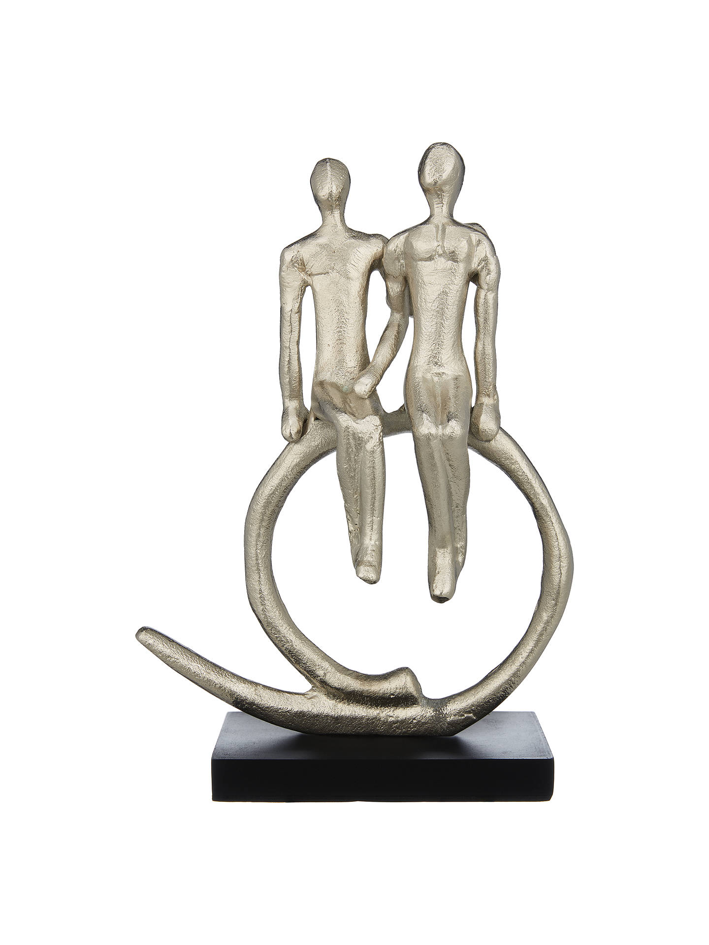 Buy John Lewis & Partners Couple Seated Swirl Sculpture, Silver Online at johnlewis.com