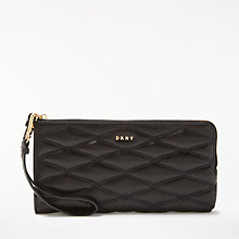 Buy DKNY Diamond Quilted Lamb Leather Medium Wristlet Pouch, Black Online at johnlewis.com