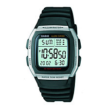 Buy Casio W-96H-1AVES-HB Unisex Core Resin Strap Watch, Black/Green Online at johnlewis.com