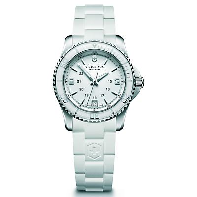 Victorinox Women's Maverick Date Rubber Strap Watch, White
