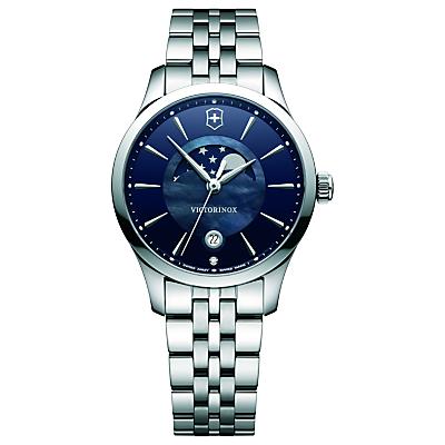 Victorinox 241752 Alliance Women's Moonphase Date Bracelet Strap Watch, Silver/Blue