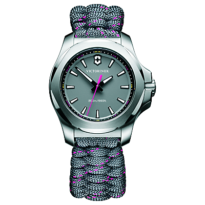 Victorinox 241771 Women's I.N.O.X Date Fabric Paracord Strap Watch, Grey