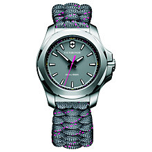 Buy Victorinox 241771 Women's I.N.O.X Date Fabric Paracord Strap Watch, Grey Online at johnlewis.com