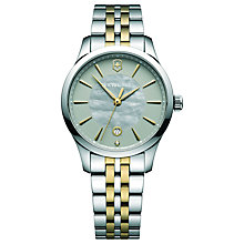 Buy Victorinox 241753 Alliance Women's Bracelet Strap Watch, Silver/Gold Online at johnlewis.com