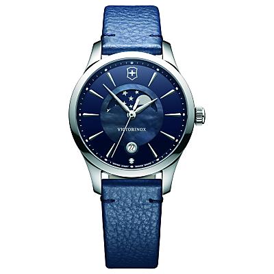 Victorinox 241794 Alliance Women's Moonphase Date Leather Strap Watch, Blue