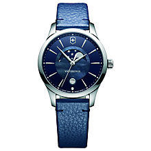 Buy Victorinox 241794 Alliance Women's Moonphase Date Leather Strap Watch, Blue Online at johnlewis.com
