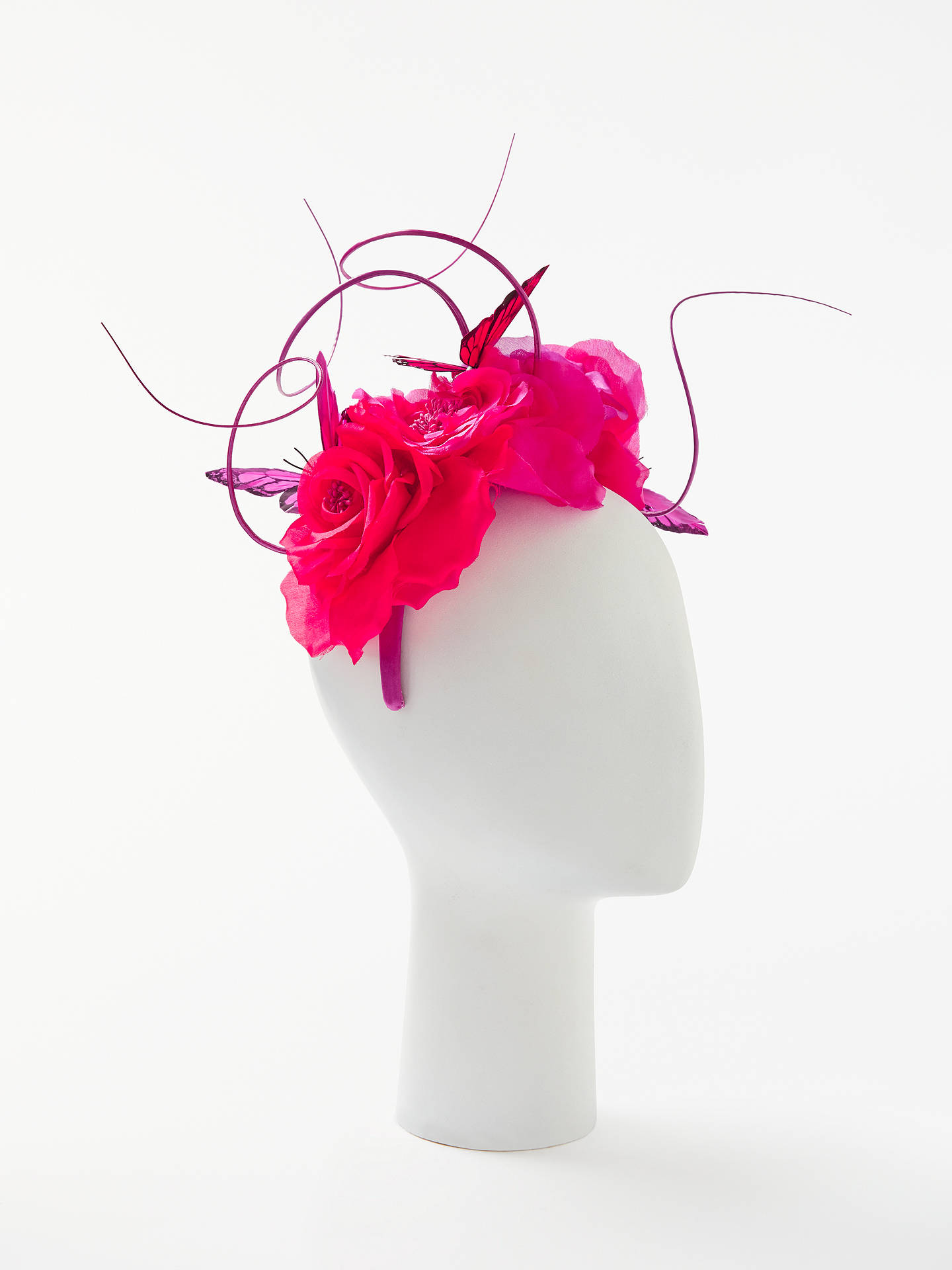 a7b473572 John Lewis & Partners Maddie Rose and Butterfly Fascinator, Pink/Red ...