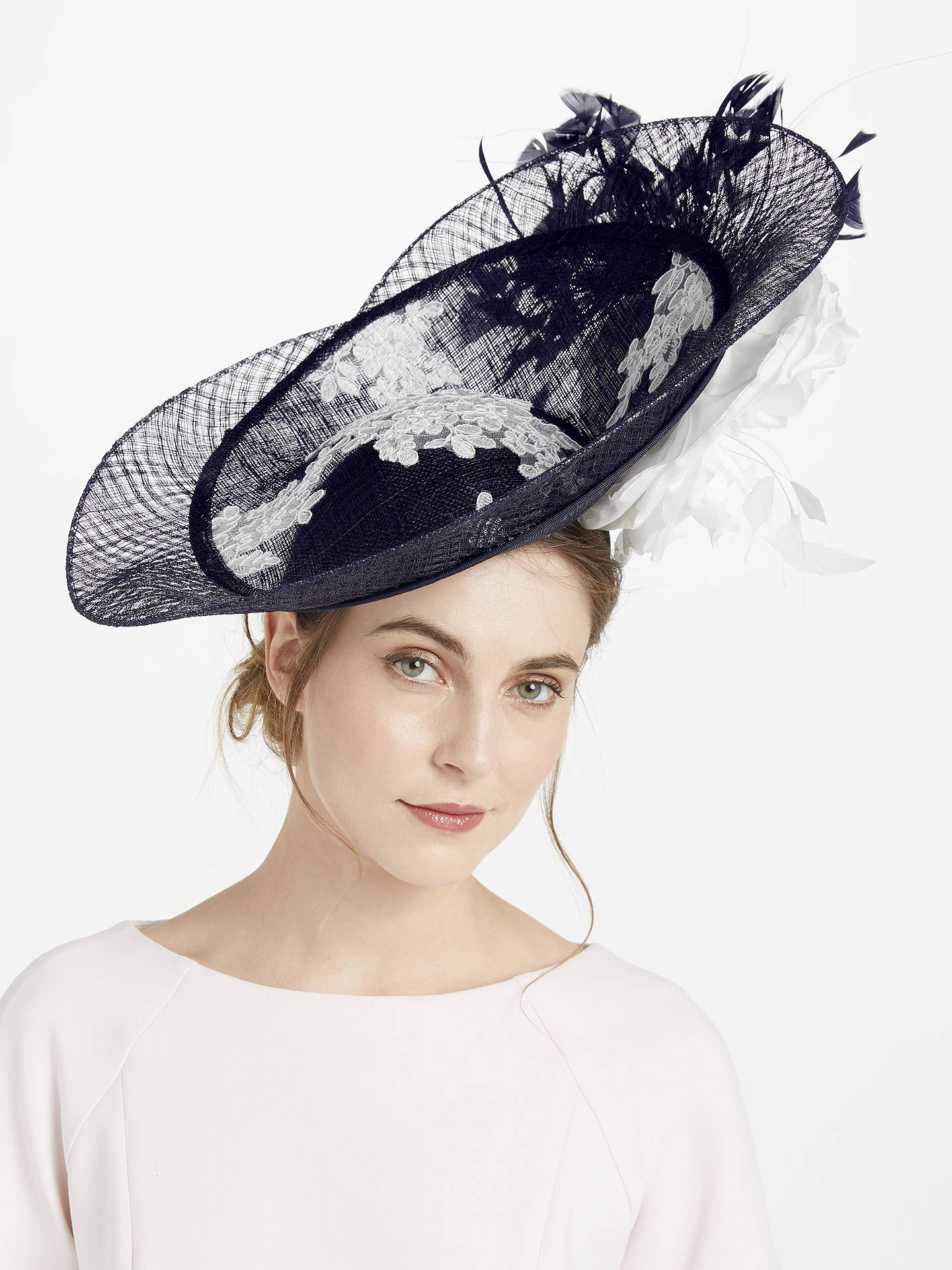 d630b6bb0dcd8 Buy Snoxells Joselyn Side Up Disc Occasion Hat, Navy/White Online at  johnlewis.