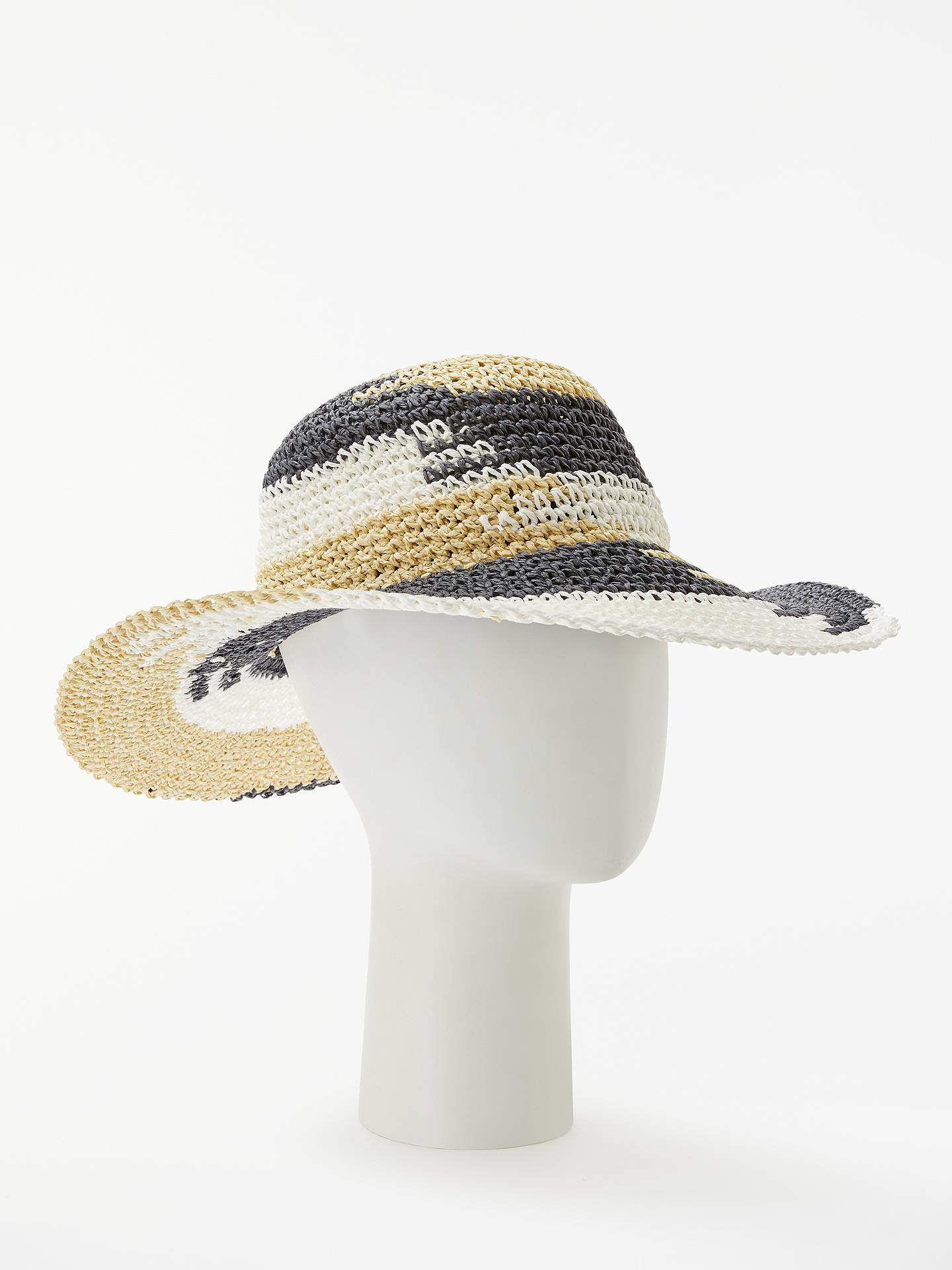 8905b6f0 Buy John Lewis & Partners Packable Ombre Weave Floppy Hat, Navy Mix Online  at johnlewis ...