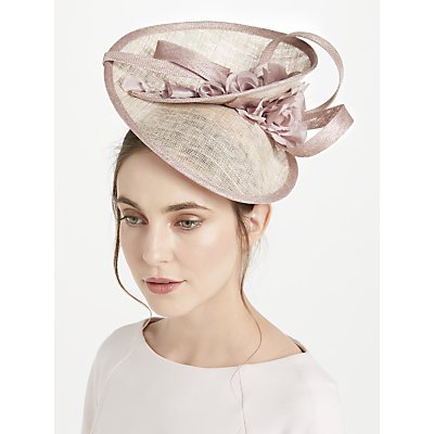 John Lewis Anita Swirl Disc Flower Detail Occasion Hat, Natural/Pink
