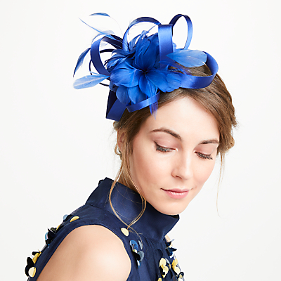 John Lewis Amy Loopy Satin Feather Fascinator, Cobalt