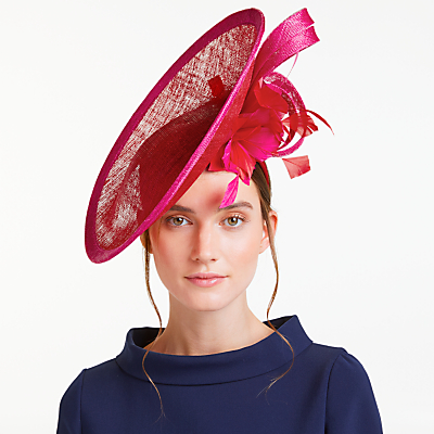 John Lewis Aurora Side Up Disc Occasion Hat, Red/Pink