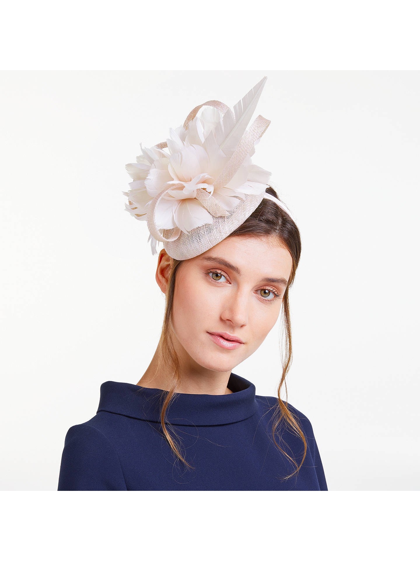 John Lewis   Partners Tasha Pillbox Large Feather Fascinator at John ... d357ba45be2