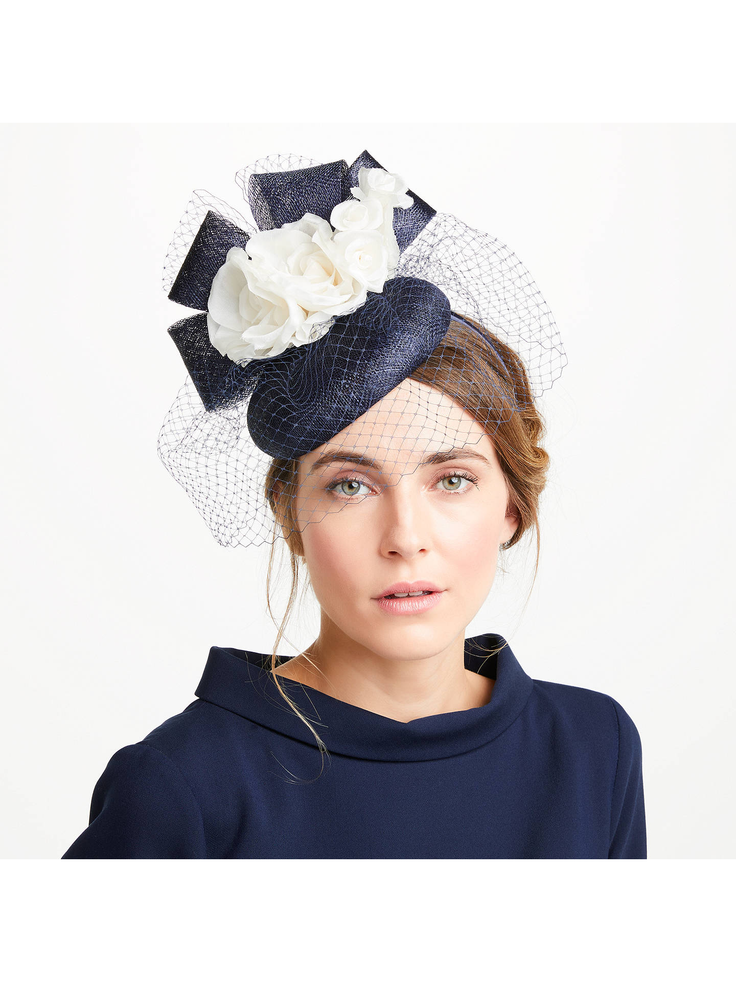 BuyJohn Lewis   Partners Lee Pillbox Veil Bow Fascinator e7bb31153c3