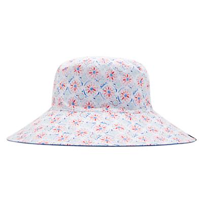Joules Celia Reversible Floral Sun Hat, White/Multi