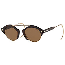 Buy TOM FORD TF0631 Farrah Round Sunglasses, Tortoise/Brown Online at johnlewis.com