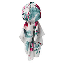 Buy Joules Esme Silk Mix Camelia Flower Print Scarf, Silver/Multi Online at johnlewis.com
