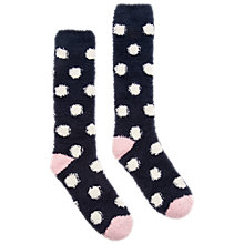 Buy Joules Fab Fluffy Spot Knee High Socks, Navy Online at johnlewis.com