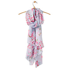 Buy Joules Wensley Blossom Print Scarf, Water Blue/Pink Online at johnlewis.com