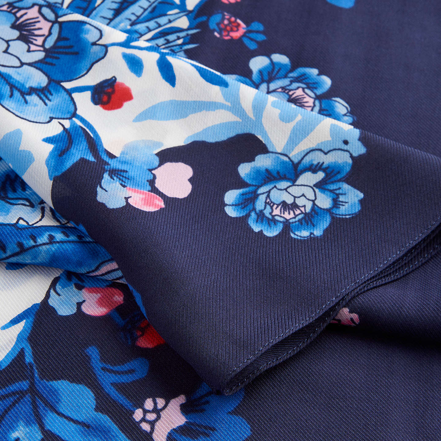 BuyJoules Esme Silk Mix Pheasant Floral Print Scarf, Navy/Multi Online at johnlewis.com