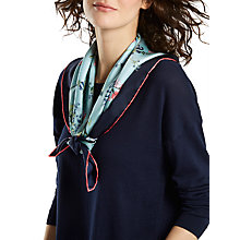 Buy Joules Bloomfield Nordic Floral Silk Square Scarf, Sky/Navy Online at johnlewis.com