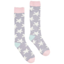Buy Joules Fab Fluffy Star Knee High Socks, Cream/Grey Online at johnlewis.com