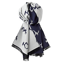 Buy Joules Jacquelyn Fox Terrier Dog Print Scarf, Navy/Grey Online at johnlewis.com