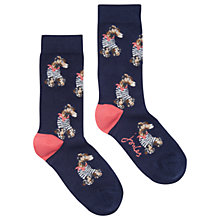 Buy Joules Brilliant Bamboo Breton Dog Socks, Navy Online at johnlewis.com