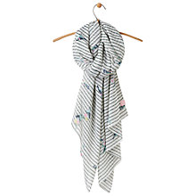 Buy Joules Wensley Bird and Stripe Scarf, Green Mix Online at johnlewis.com