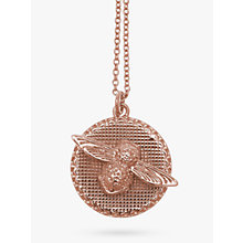 Buy Olivia Burton 3D Bee Disc Pendant Necklace, Rose Gold Online at johnlewis.com