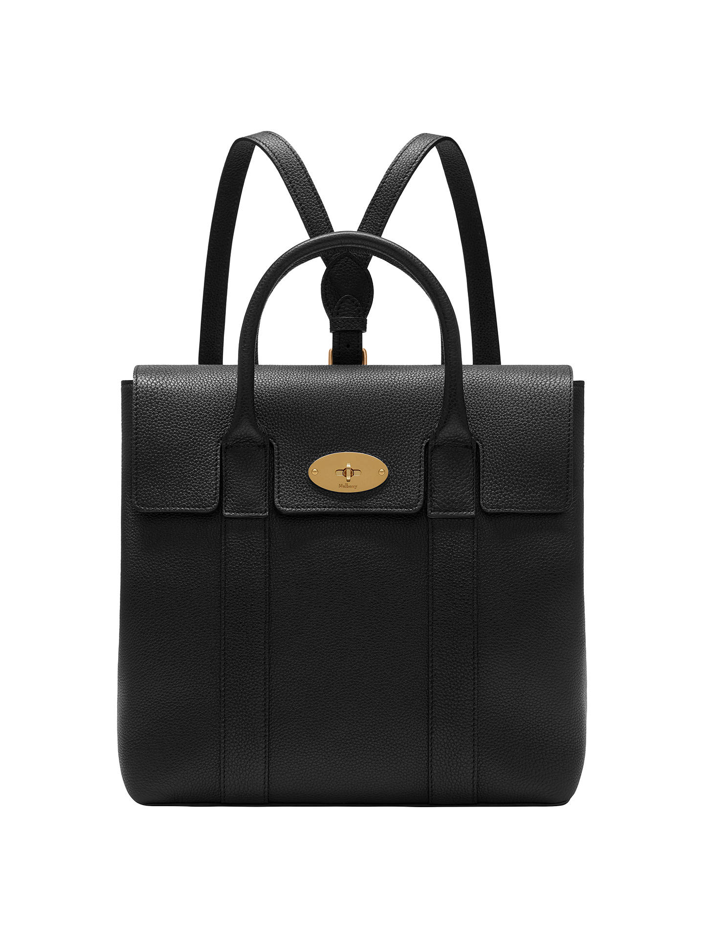 8de872f4df7 BuyMulberry Bayswater Small Classic Grain Leather Backpack, Black Online at  johnlewis.com ...