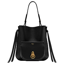 Buy Mulberry Amberley Small Classic Grain Leather Hobo Bag, Black Online at johnlewis.com