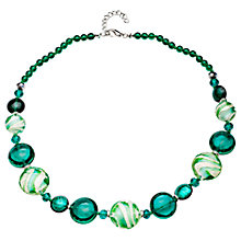Buy Martick Flat Round Murano Glass Beads Necklace, Green Online at johnlewis.com