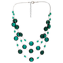 Buy Martick Flat Murano Glass Beads Layered Necklace, Green Online at johnlewis.com