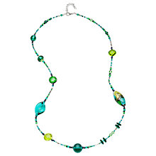 Buy Martick Long Murano Glass Bead Necklace, Green Online at johnlewis.com