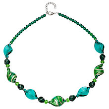Buy Martick Asymmetrical Murano Glass Beads Necklace, Green Online at johnlewis.com