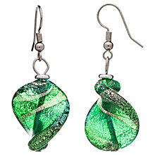 Buy Martick Twist Murano Glass Drop Earrings, Green/Silver Online at johnlewis.com