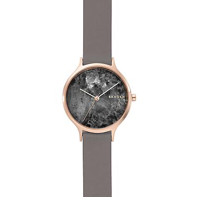 Skagen SKW2672 Women's Anita Leather Strap Watch, Grey/Black