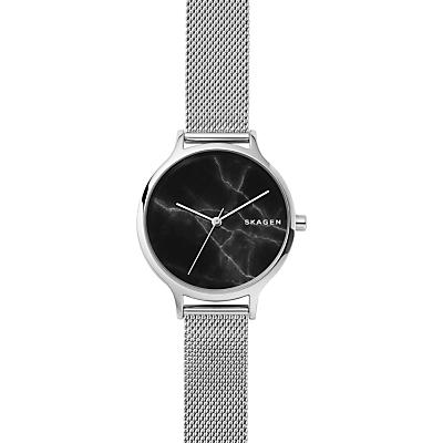 Skagen SKW2673 Women's Anita Mesh Bracelet Strap Watch, Silver/Black