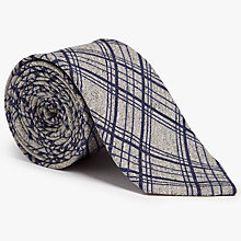 Buy John Lewis Woven in Italy Large Grid Check Silk Cotton Tie, Grey Online at johnlewis.com