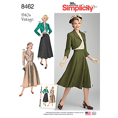 Image of Simplicity 1940s Vintage Blouse, Skirt, and Lined Bolero Pattern, 8462