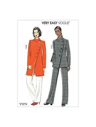 Vogue Easy Misses' Asymmetrical Lined Jacket and Pull-On Trousers Sewing Pattern, 927