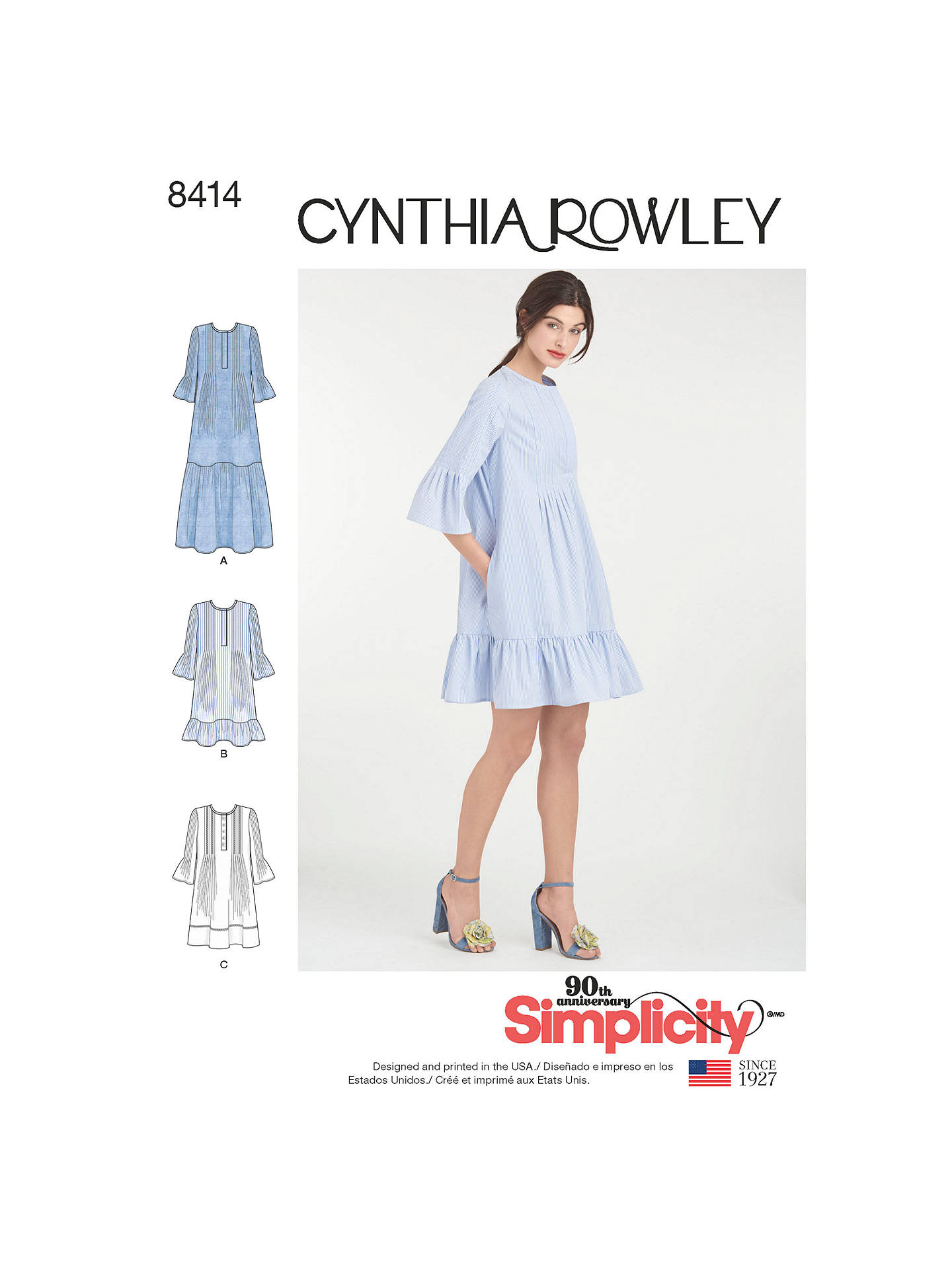 3d34c86ac0 Buy Simplicity Cynthia Rowley Pintuck Ruffle Dress Sewing Pattern, 8414  Online at johnlewis.com ...