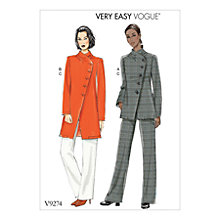 Buy Vogue Easy Misses' Asymmetrical Lined Jacket and Pull-On Trousers Sewing Pattern, 927 Online at johnlewis.com