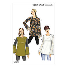 Buy Vogue Princess-Seam Tunics with Zipper Sewing Pattern, 9270 Online at johnlewis.com