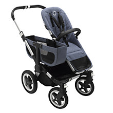 Buy Bugaboo Donkey2 Mono Complete Pushchair & Carrycot, Aluminium with Blue Melange Fabric Online at johnlewis.com