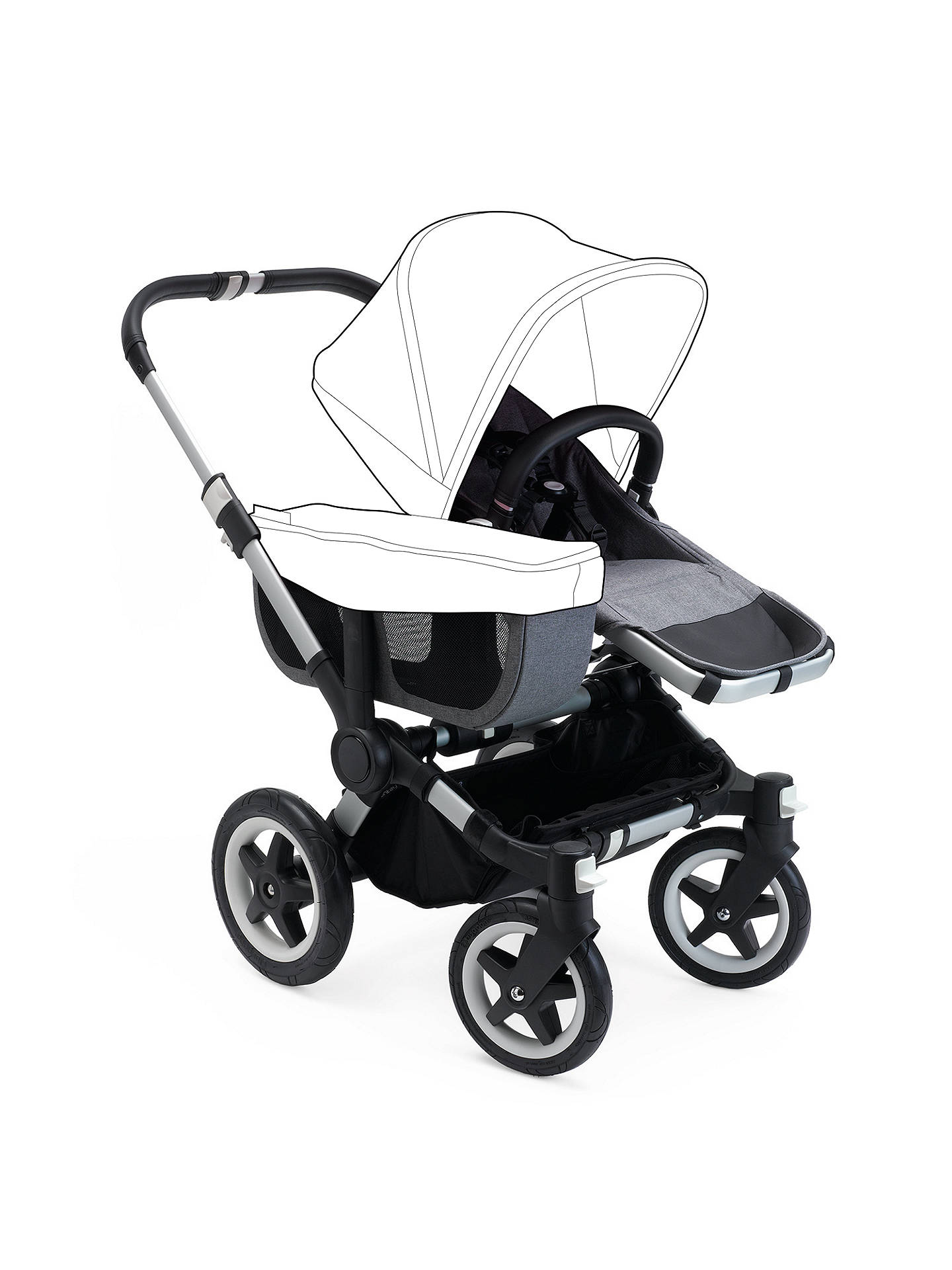 BuyBugaboo Donkey2 Mono Complete Pushchair & Carrycot, Aluminium with Grey Melange Fabric Online at johnlewis.com