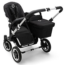 Buy Bugaboo Donkey2 Duo Complete Pushchair & Duo Extension Pack, Aluminium with Black Fabric Online at johnlewis.com
