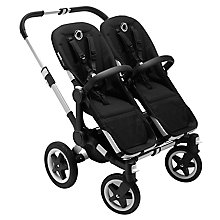 Buy Bugaboo Donkey2 Twin Complete Pushchair, Carrycot & Twin Extension Pack, Aluminium with Black Fabric Online at johnlewis.com