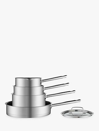 John Lewis & Partners Stainless Steel Pan Set, 4 Piece